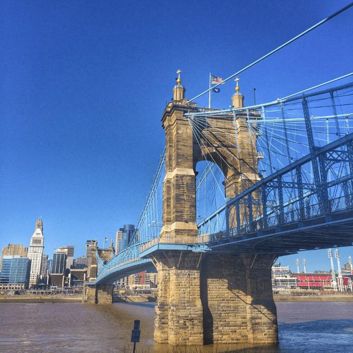 John A. Roebling Suspension Bridge connecting Covington to Cincinnati