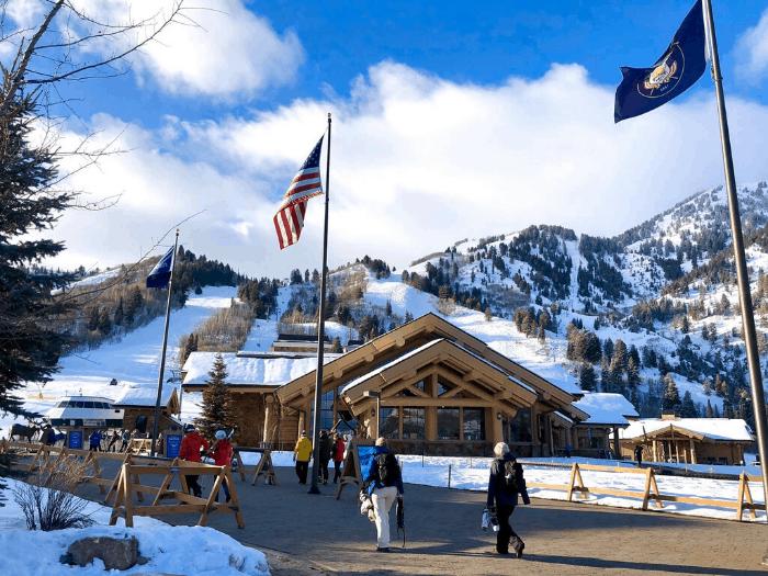 skiers at Snowbasin Resort in Utah