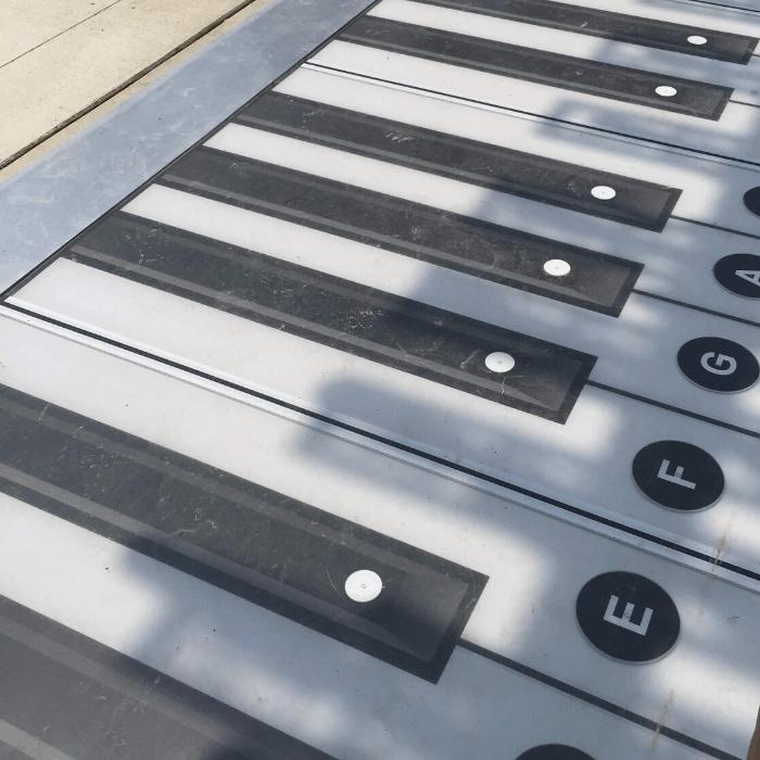 giant foot piano Smale Park in Cincinnati