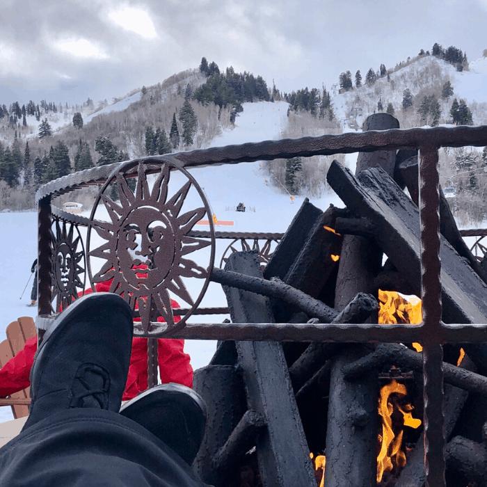 firepit at Snowbasin Resort in Utah