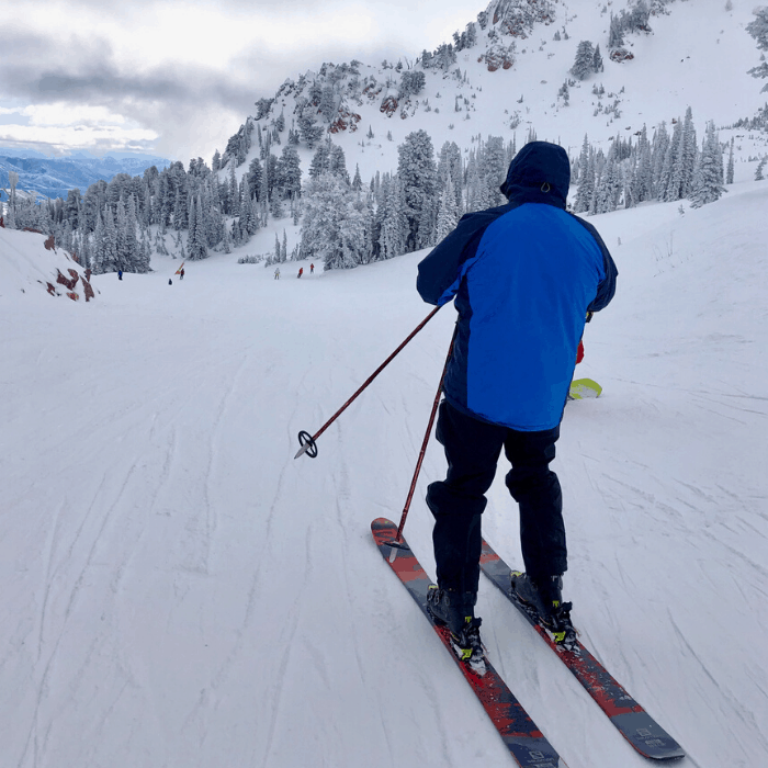 skier at Snowbasin Resort in Utah
