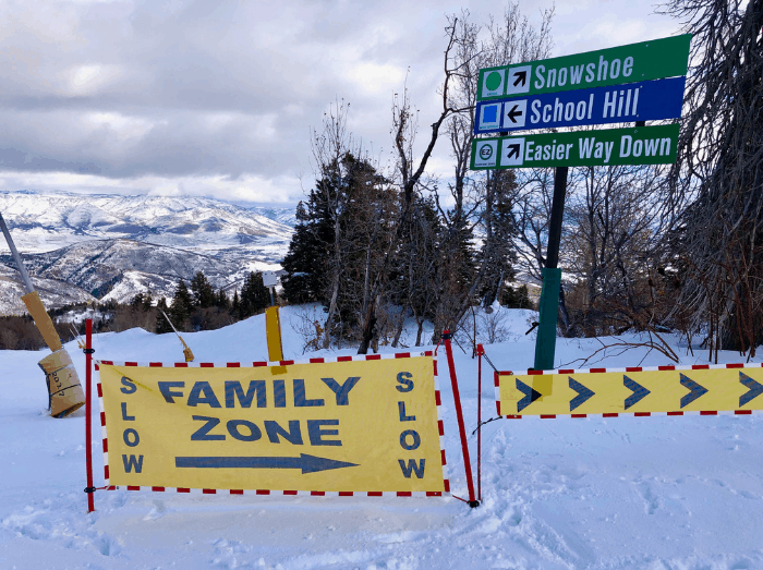 Family zone at skier at Snowbasin Resort in Utah