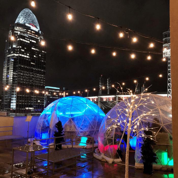 Illuminated Igloo at AC Hotel Upper Deck in Cincinnati Ohio