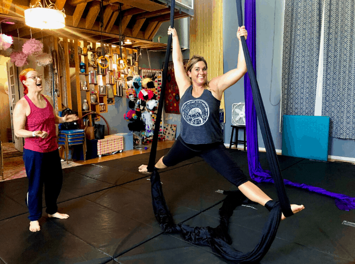 Intro to aerial silks Voler Thieves of Flight class Kansas City Kansas
