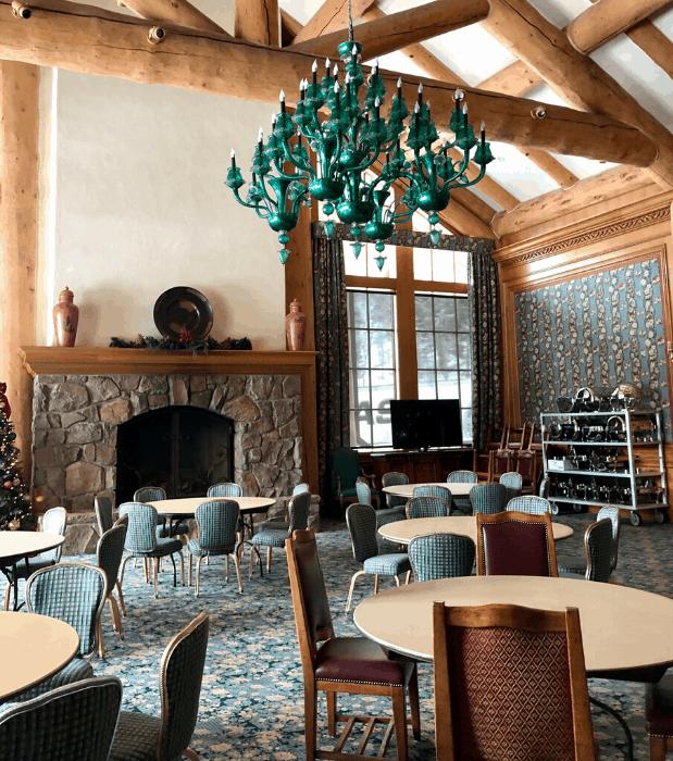 green chandelier at Snowbasin Resort in Utah
