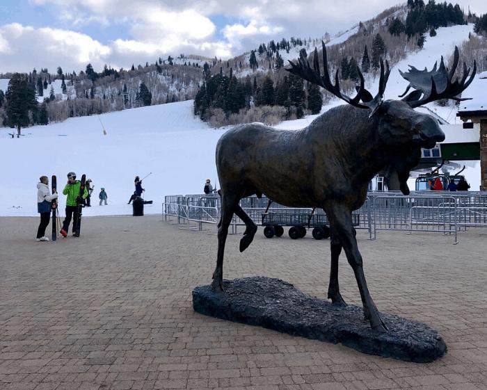 moose statue at Snowbasin Resort in Utah