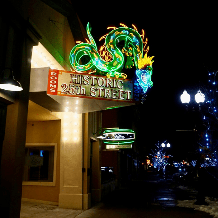 neon sign with a dragon Ogden Utah