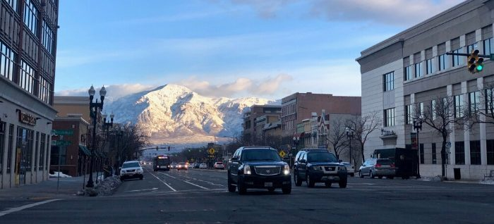 view of mountains from downtown Ogden