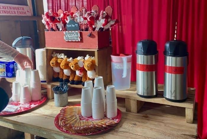 hot chocolate  at Leavenworth Reindeer Farm