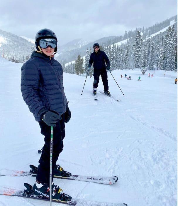 teenage boys skiing in Washington State