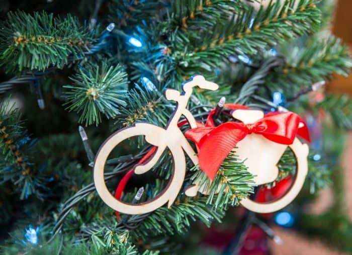 bike ornament on a Christmas Tree
