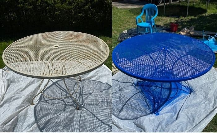 before and after spray paint to metal table