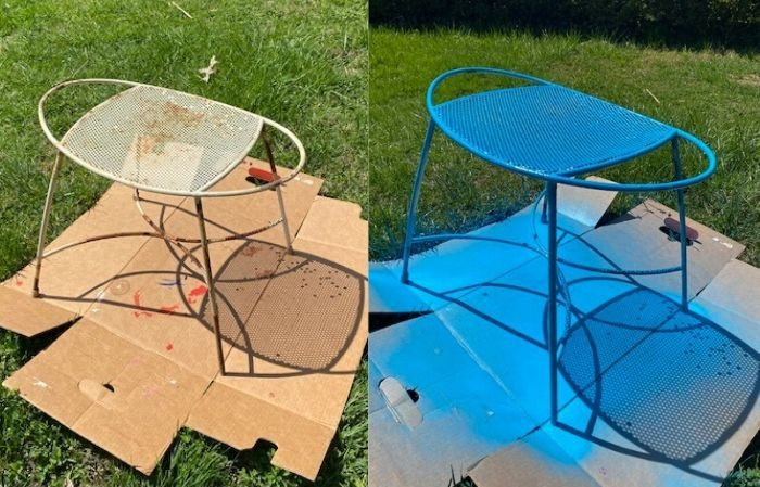 before and after spray paint to metal footstool
