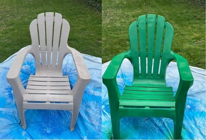 before and after spray paint to Adirondack chair