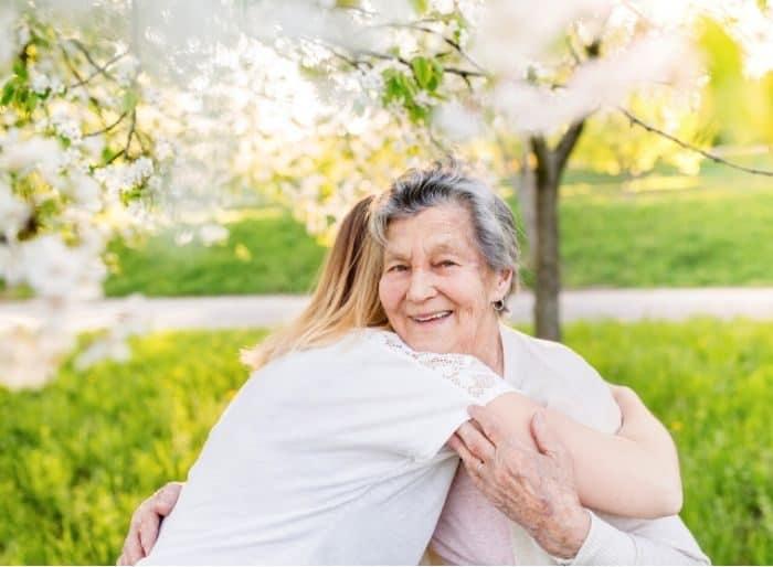 hugging a grandma