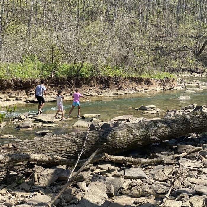 kids hiking in a creek