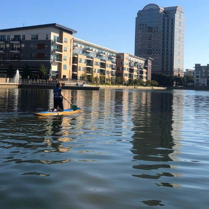 Stand up paddleboarding on Lake Carolyn in Las Colinas