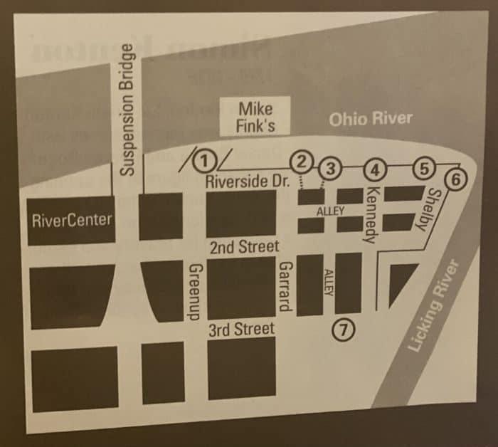 Walking tour Map for Riverwalk Statue Tour