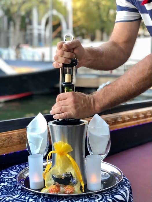 bottle service on a gondola ride with Gondola Adventures
