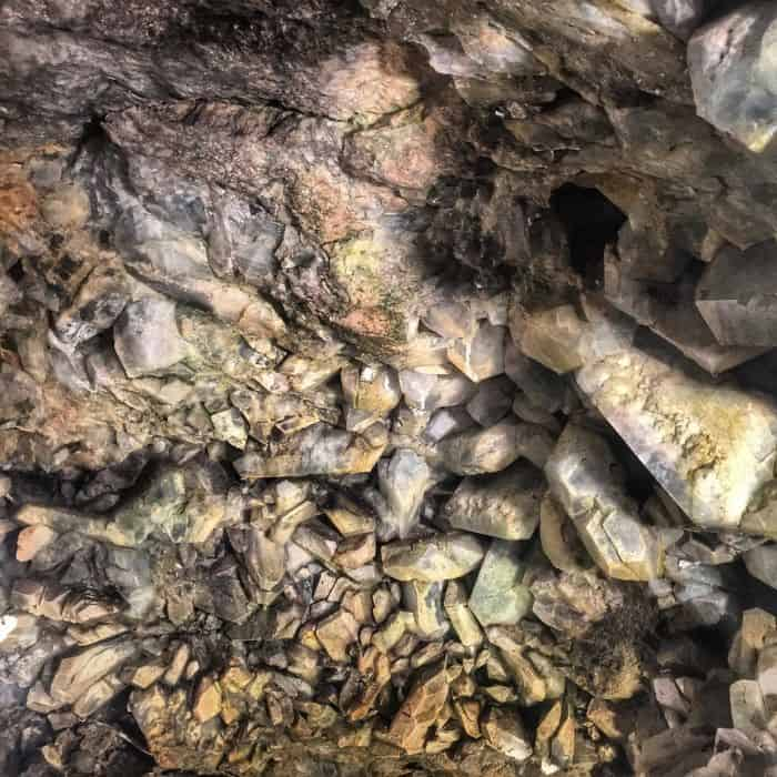 geode in cave on Put in Bay Island in Ohio