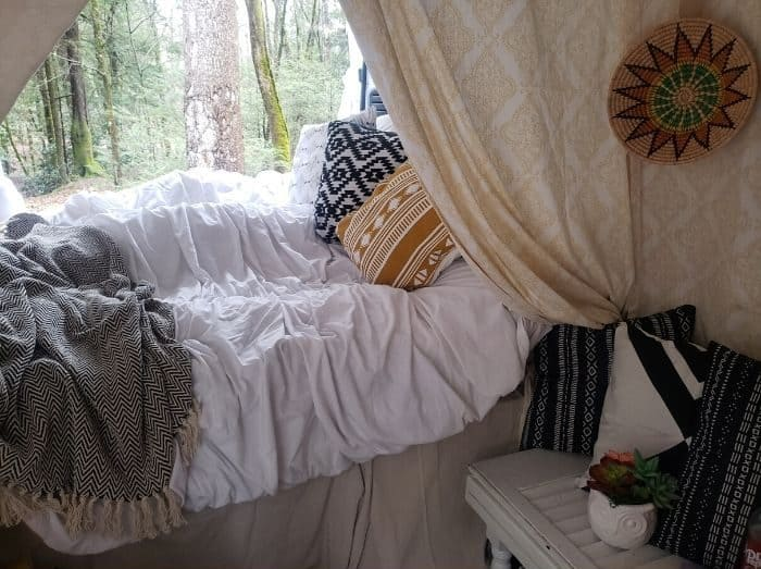 inside decorated van camper