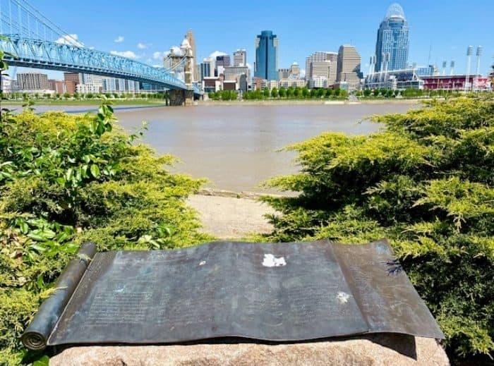marker near John A. Roebling statue in Covington Kentucky