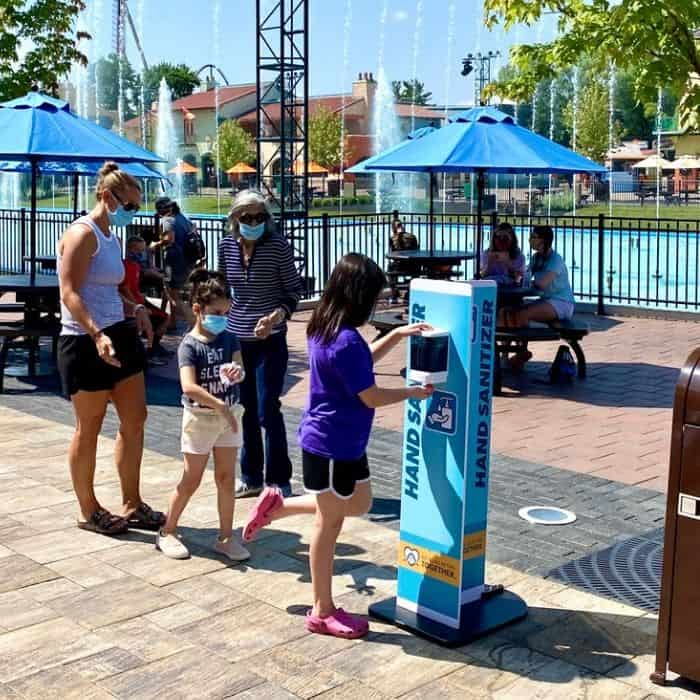 hand sanitizer stations at Kings Island Amusement Park