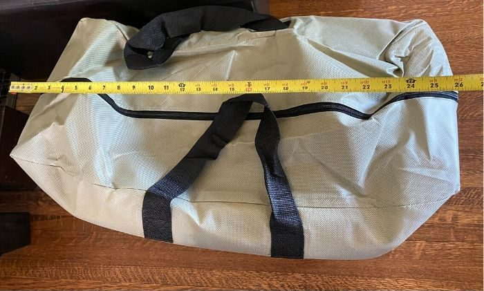 measuring length of inflatable kayak carrying bag