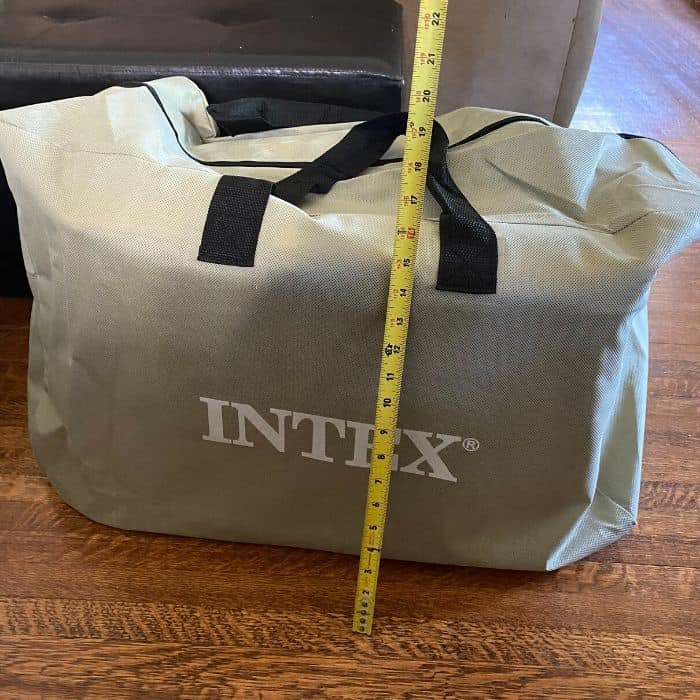 measuring height of inflatable kayak carrying bag
