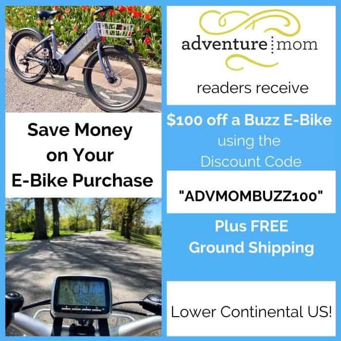 Adventure Mom Reader Discount for Buzz E-bikes