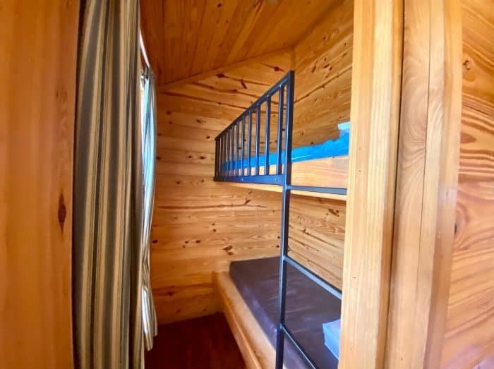 bunk bed set at deluxe cabin