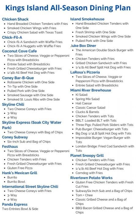 Kings Island All-Season Dining Plan