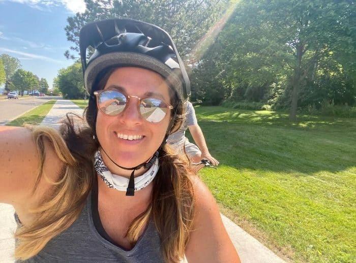 Nedra McDaniel riding a Buzz Bicycle electric bike