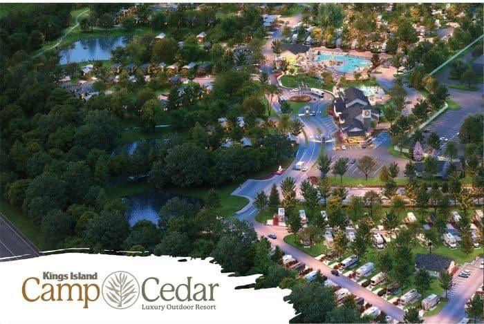 aerial view of Kings Island Camp Cedar