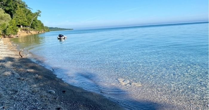 clear water in Little Traverse Bay in Michigan