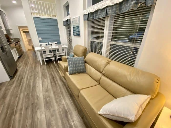 family room at the Premium Cottage at Petoskey RV Resort