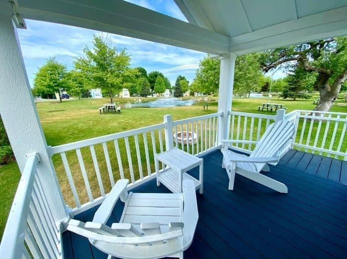 front porch of the premium cottage at Petoskey RV Resort