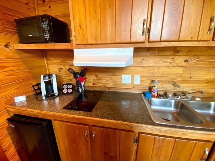 kitchen area in the deluxe cabin at KOA Port Huron