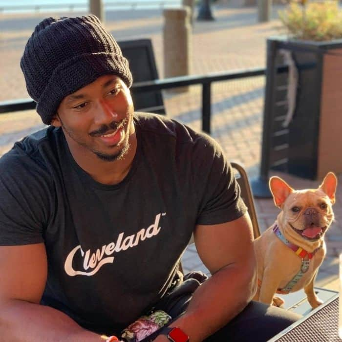 french bulldog Vince Cincy with Myles Garrett of the Cleveland Browns