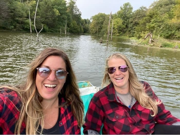 Adventure mom and friend on the lake at Hidden Lake Farm