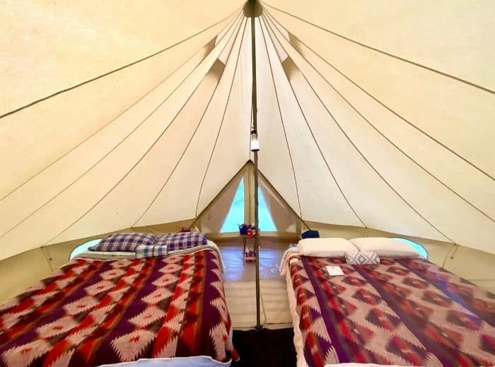 Inside the glamping canvas tent by the Pop-Up BNB