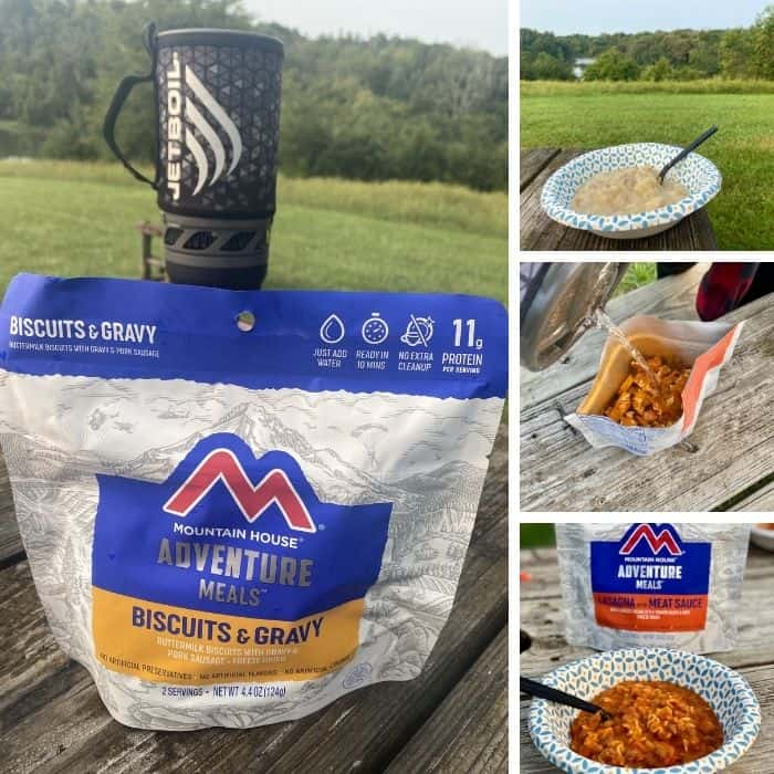 Jetboil with freeze dried meals from Mountain House adventure meals