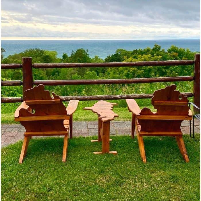Michigan shaped chairs outside Legs Inn restaurant
