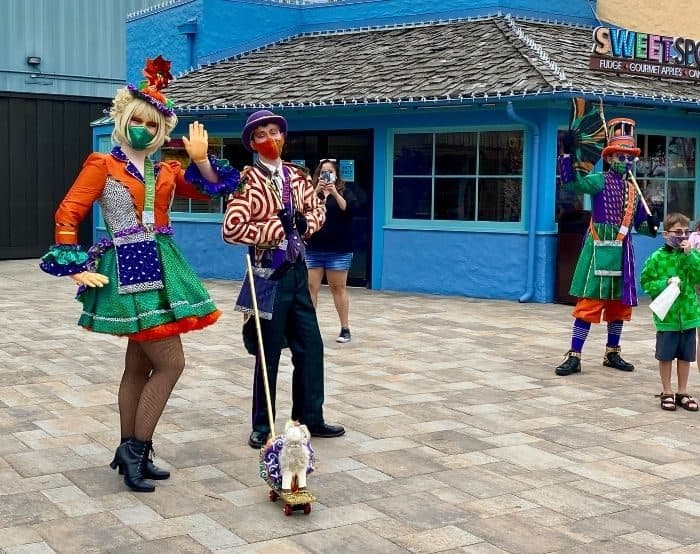 Performers in costume at Kings Island
