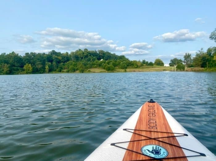 Stand up paddle boarding at Hidden Lake Farm