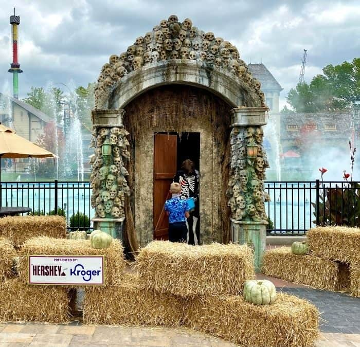Trick or treat station at Kings Island Tricks and Treats Fall Fest
