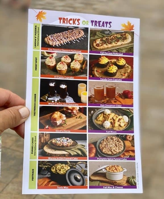 Tricks or Treats Menu items at Kings Island
