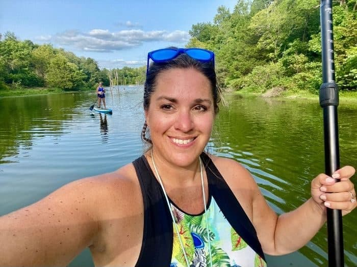 adventure mom and friend Stand up paddle boarding at Hidden Lake Farm