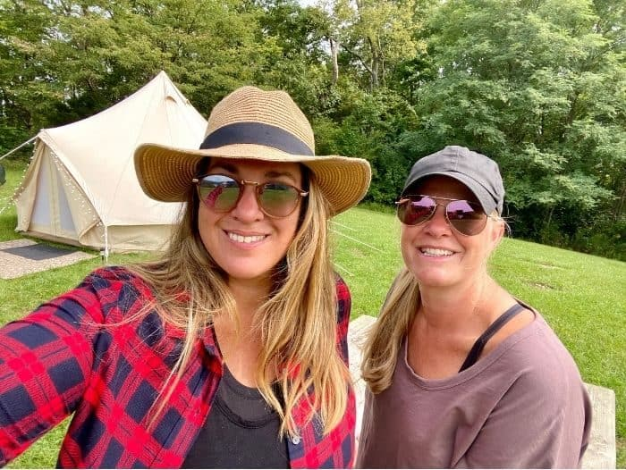 adventure mom and friend glamping with the Pop-Up BNB