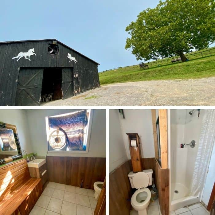 bathroom in the barn at Hidden Lake Farm in Kentucky